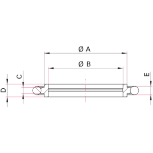 ISO-KF Centering Ring with Screen - Dimensions