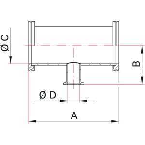 ISO-K to ISO-KF Reducer Tee - Dimensions