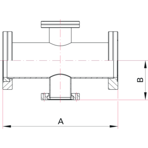 CF 4-Way Reducer Cross - Dimensions